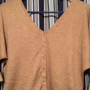 Tan shimmer mid length sleeve shirt, never worn